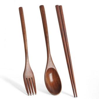 Wood Chopsticks, Spoon &Amp; Fork Set