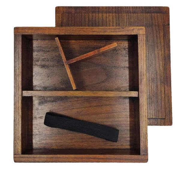Wooden Bento Box Lid, Base Divider & Strap