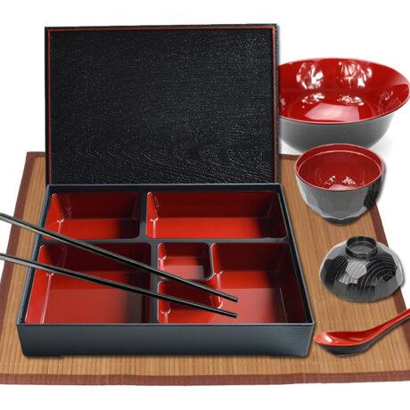 Square Traditional Bento Box Set, Placemat & Soup Bowl