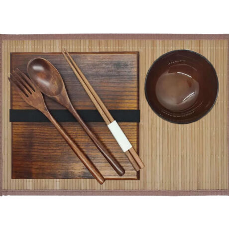 Wood Bento Box Set & Bamboo Placemat