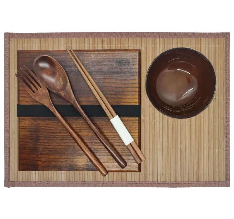 Wooden Bento Box & Bamboo Placemat Set