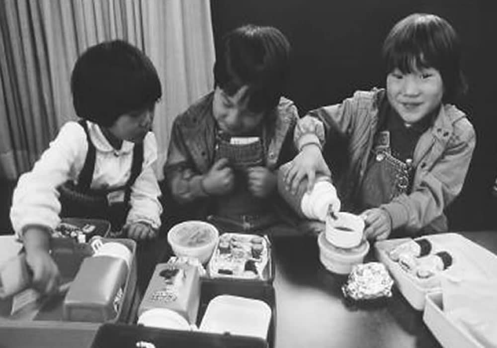 Children Enjoying Obento Meals