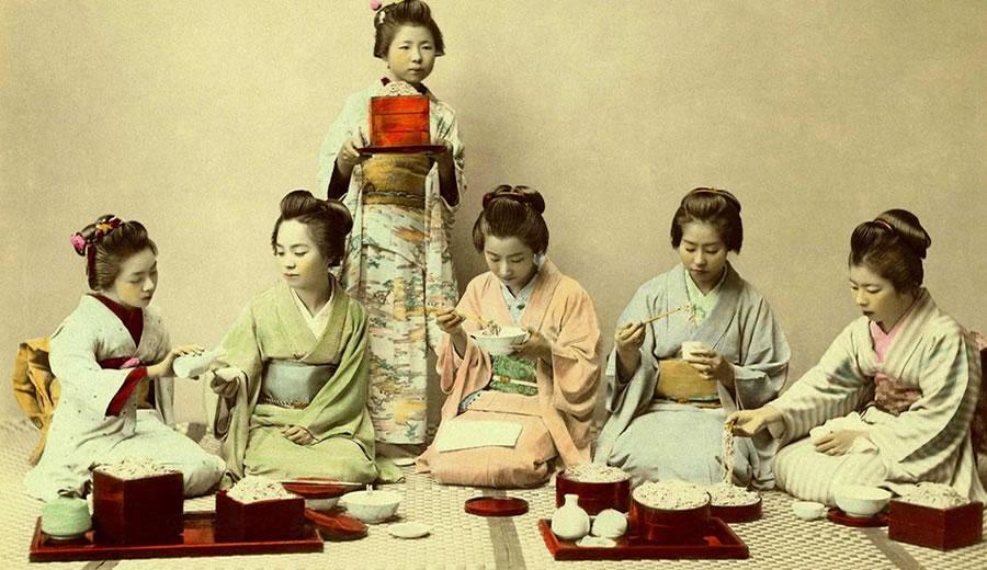 Geisha Eating With Bento &Amp; Japanese Chopsticks