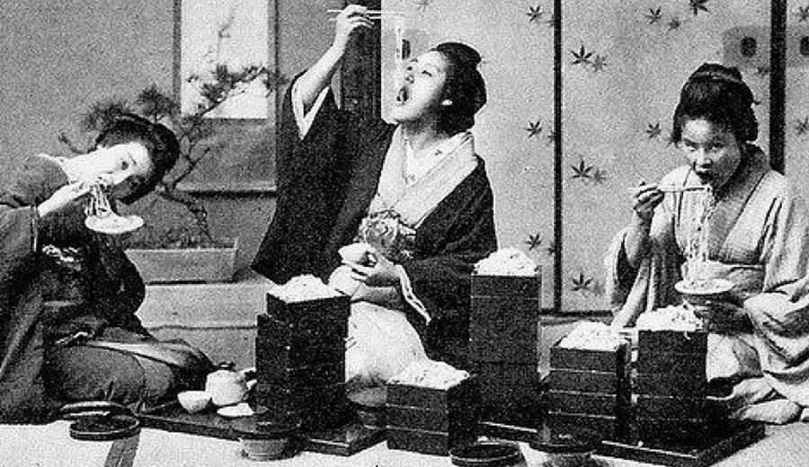 Geisha Eating Noodles With Chopsticks