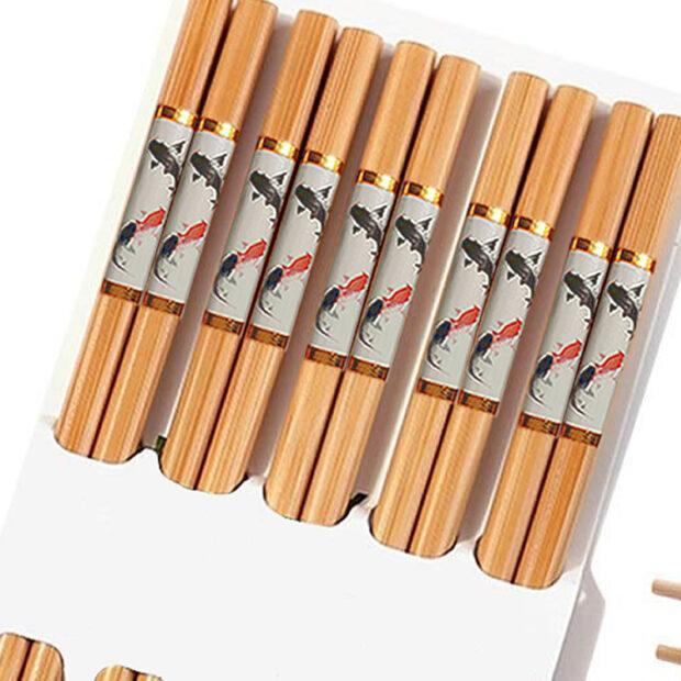 Traditional Bamboo Chopsticks & Japanese Fish Print