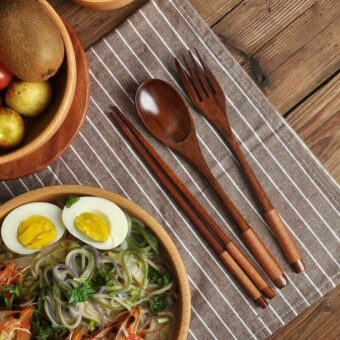 Wood Chopsticks, Spoon & Fork Set