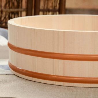 Wooden Sushi Oke Rice Mixing Tub Closeup
